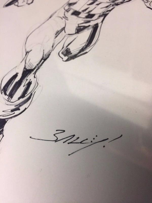 Mark Bagley ORIGINAL Art Sketch Captain America Marvel Comics Heroes Con TWT1