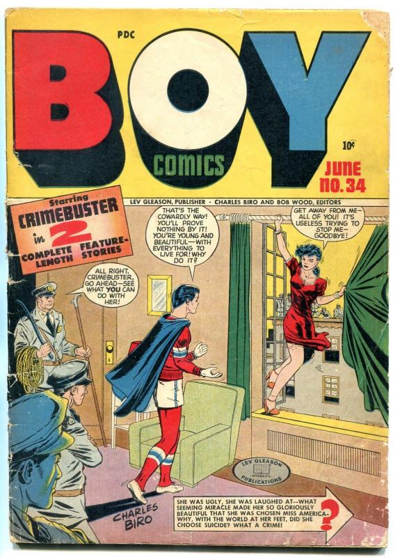 Boy  #34 1947-Lev Gleason-Crimebuster-suicide cover-Dan Barry art- g/vg