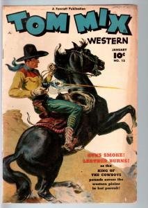 TOM MIX COMICS #13-1949-B WESTERN MOVIE-NORMAN SAUNDERS COVER-FAWCETT-RARE VG-