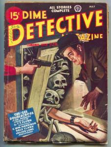 Dime Detective Pulp May 1944- Mr Maddox- Skull cover