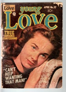 YOUNG LOVE #32-1952-ROMANCE-JACK KIRBY ART-PHOTO COVER-PRIZE- FAIR condition G