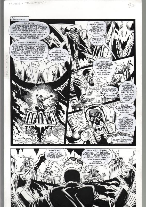 TOD SMITH--ELVIRA #165--JUMP IN---ORIGINAL ART PAGE 8-QUEEN 'B' PRODUCTIONS FN