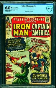 Tales Of Suspense #61 CBCS FN 6.0 Off White to White Iron Man