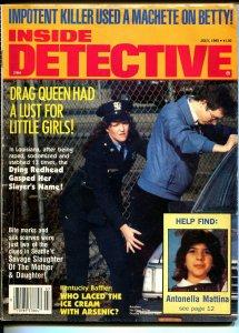Inside Detective 7/1985-female cop frisks suspect-violent pulp crime thrills-FR