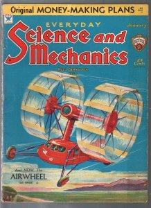Everyday Science & Mechanics 1/1934-Frank R Paul-aie wheel-rockets-VG+