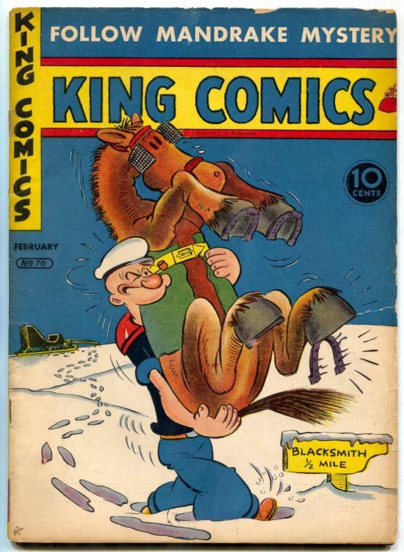 King Comics #70 1942- Popeye- Lone Ranger- Flash Gordon page missing