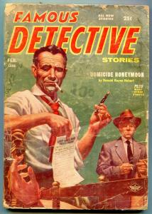 Famous Detective Stories Pulp February 1956- Homicide Honeymoon G