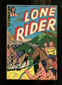 LONE RIDER 3-1951-INDIAN AND READHEADED WOMAN TIED VF