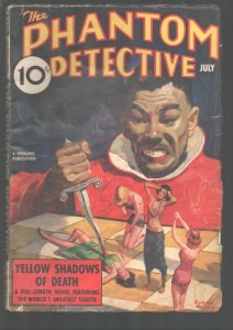 Phantom Detective 7/1938-Oriental villain stabs spicy woman with dagger cover...