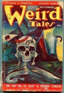 Weird Tales Pulp September 1949- Skull cover- Sturgeon- Seabury Quinn VG