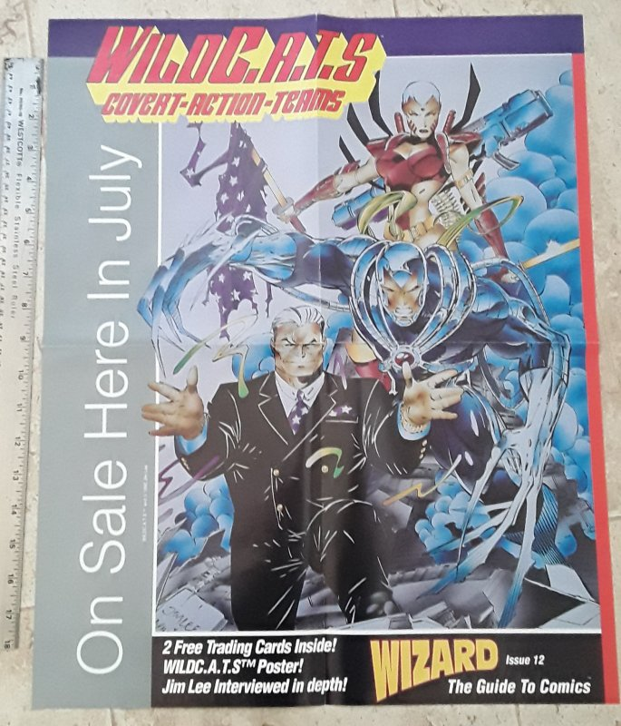 Wizard WildC.A.T.S. Covert Action Teams Jim Lee 1992 Poster see note