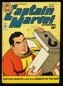 CAPTAIN MARVEL ADVENTURES #70-FAWCETT-HORROR IN THE BOX VG