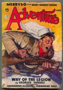 Adventure Pulp June 1936- Way of the Legion VG+
