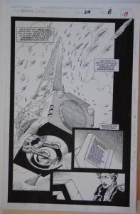 PAT BRODERICK / JOHN NYBERG original art, DOOM 2099 #29 pg 8, 11x 17, Splash