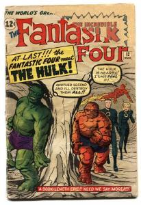 Fantastic Four #12 Hulk vs. Thing-1963-marvel bargain