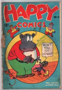 Happy #11 1946-Nedor-crazy funny animals-violent stories-prank cover-G+