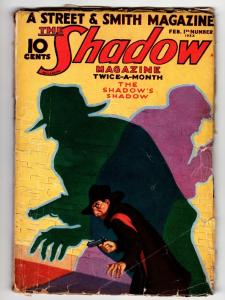SHADOW 1933 February 1 classic cover-STREET AND SMITH-RARE PULP g/vg