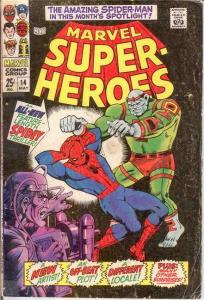 MARVEL SUPER HEROES 14 GOOD   May 1968 SPIDERMAN COMICS BOOK