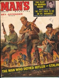 Man's Magazine August 1960- Plot to Murder Nixon- Race Riots VG