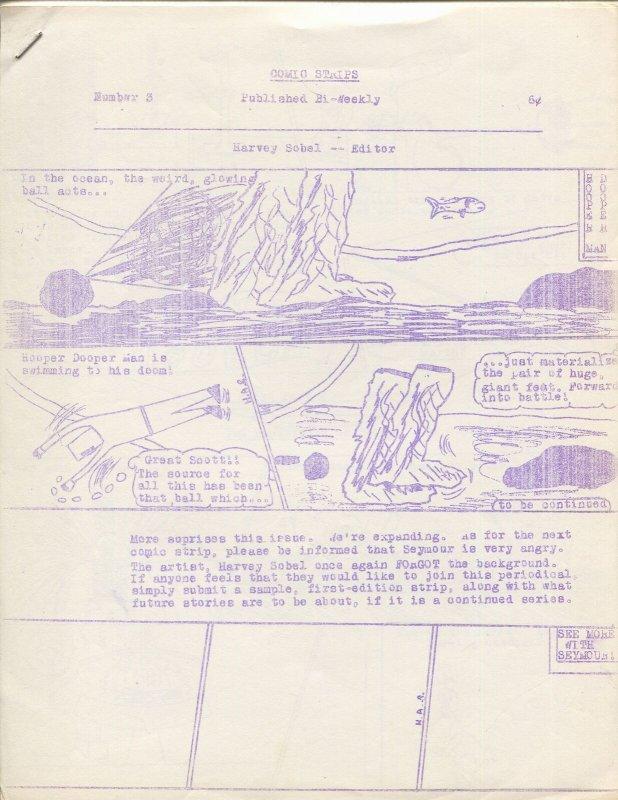 Comic Strips #3 1960's-Harry Sobel-Amateur Comics-6¢ cover price-FN
