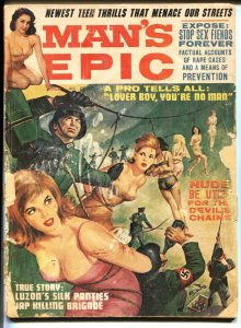 Man's Epic Aug 1965-Drunken Nazi torture cover- cheesecake