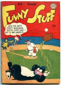 Funny Stuff #15 1946- DC Funny Animals- Flash Parody- Baseball- FN-