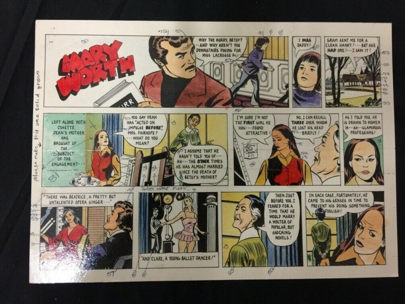 Mary Worth Sunday Newspaper Original Comic Strip Art and Color Guide 2/17/74