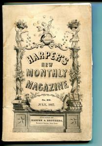 Harper's New Monthly Magazine 7/1867-pulp format-Civil War-Indepence Hall-VG