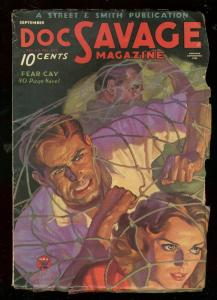 DOC SAVAGE SEPT 1934-FEAR CAY-GOOD GIRL ART-PULP-WALTER G/VG