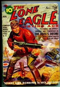 LONE EAGLE-AUG 1939-PULP THRILLS-MACHINE GUN-PLANE CRASH-good