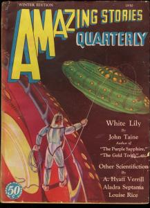 AMAZING STORIES QUARTERLY 1930 WINT-UFO COVER VG