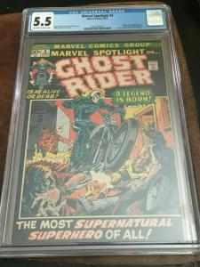 MARVEL SPOTLIGHT #5 CGC 5.5 - FN- 1ST APP GHOST RIDER - BRONZE AGE BLUE CHIP KEY