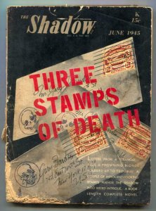 Shadow Digest Pulp June 1945- Three Stamps of Death FAIR