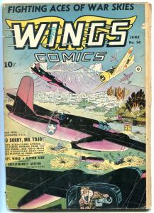 Wings #34 1943-  Hitler - Churchill- WWII Golden Age G