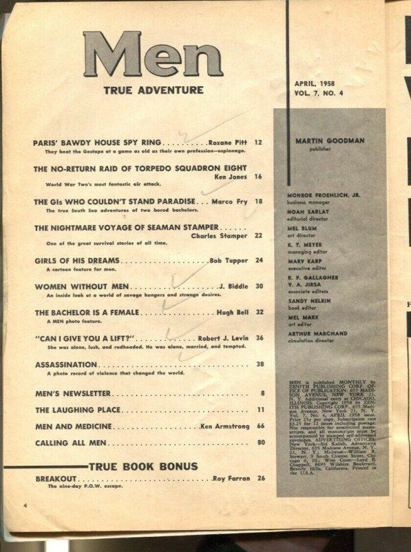 Men 4/1958-AtlasPOW escape-Nazis-women in prison-cheesecake-exploitation-G+