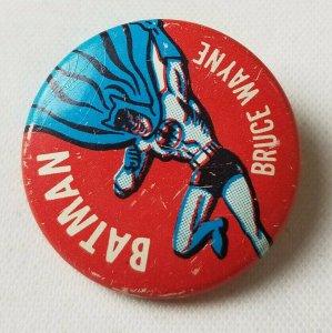 1966 Vtg N.P.P Batman Bruce Wayne Red Blue DC Comic Pinback Button Pin