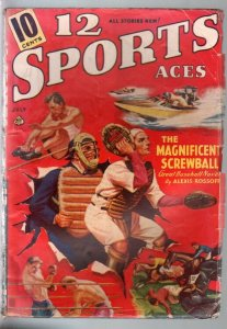 12 Sports Aces  7/1940-pulp fiction-baseball-boxing-racing-golf-VG