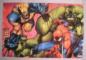 MARVEL Promo Poster, WOLVERINE, HULK, SPIDER-MAN, 2005, Unused