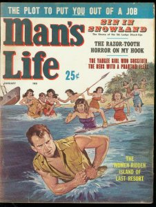MAN'S LIFE PULP JAN 1961-SIN SNOWLAND-ISLAND GIRL COVER VG