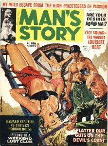 MAN'S STORY-APRIL 1963-NAZI BONDAGE-WEIRD MENACE-HORROR-PULP-CHEESECAKE