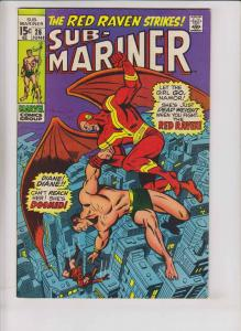Sub-Mariner #26 FN+ june 1970 - prince namor vs red raven - roy thomas - buscema