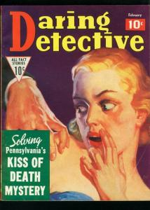DARING DETECTIVE FEB 1936-SMUGGLERS, TRUE CRIME-KISS OF DEATH VG