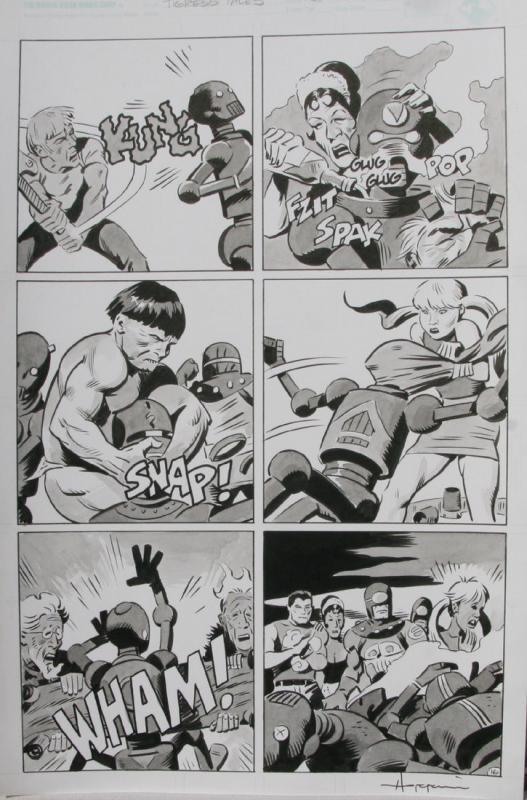 TIGRESS TALES #5 Original Mike Hoffman art, Page #16, Signed,published,vs Robots