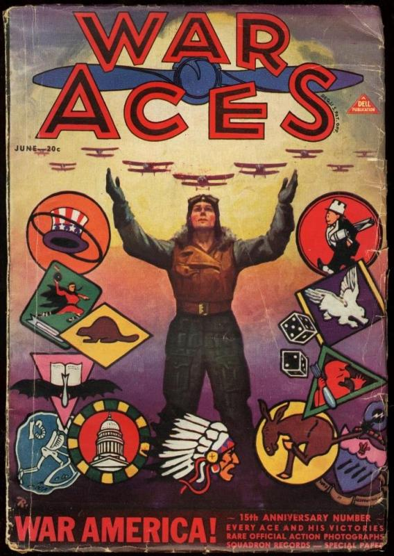 WAR ACES 1932 JUN-GREAT COVER-AVIATION PULP VG