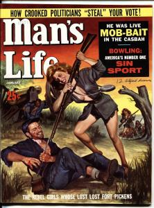 MAN'S LIFE 1/1962-Spicy Rebel soldier babe stabs Union soldier! Civil War
