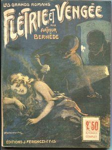 RARE FRENCH HORROR PULP-LES GRANDS ROMANS-1926-WEIRD MENACE-TORTURE