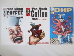 TOO MUCH COFFEE MAN #1, #2 and #4 plus DHP #92 - by Shannon Wheeler