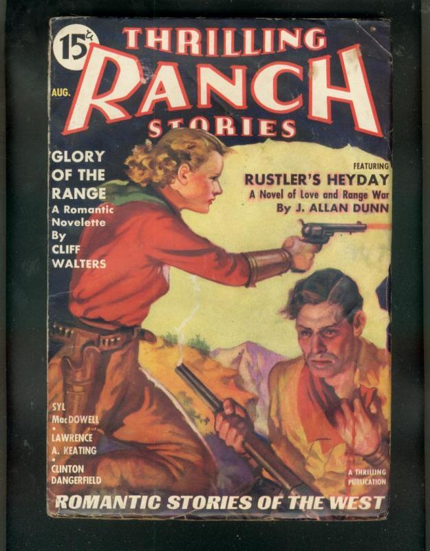 THRILLING RANCH STORIES-AUG 1936-ROMANCE WESTERN PULP VG/FN