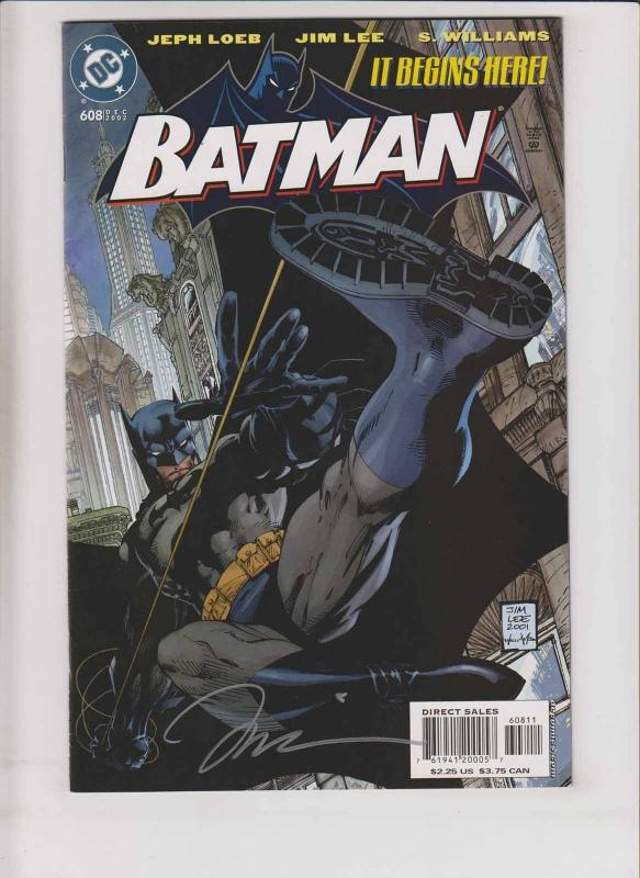 Batman #608 VF- signed by jim lee - hush part 1 by jeph loeb - 1st print 2002