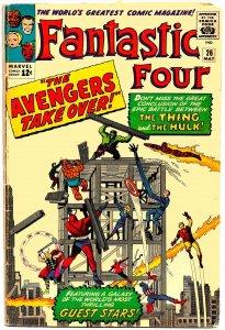 FANTASTIC FOUR #26 (May1964) 4.0 VG • HULK vs THING!!  Big AVENGERS Crossover!